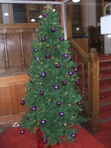 New College Library Christmas tree in Funk Reading Room