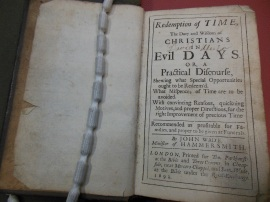 The Redemption of Time / John Wade, 1692. New College Library F7 b1