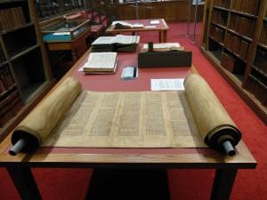 Torah scroll on display in the Funk Reading Room