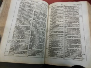 King James Bible on display at New College Library, Edinburgh